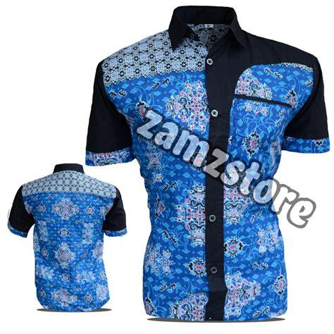 Izzue Kemeja Pendek Printing Black baju batik pria eksklusif kemeja lengan pendek motif