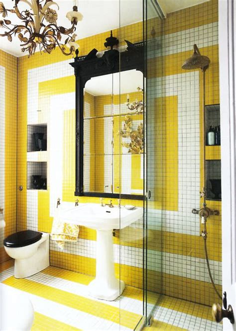 yellow patterned tiles bathroom yellow white bath design diy this look with kd106