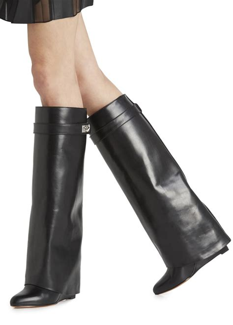 New Givenchy High Heel 3 In 1 1698 3 givenchy shark lock knee high leather wedge boots in black