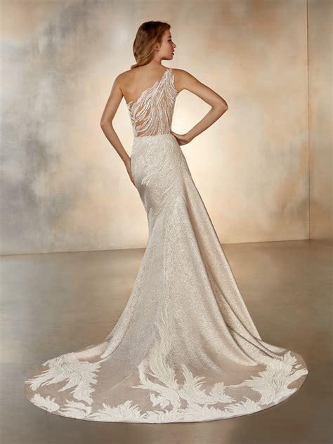 shoulder wedding dress  illusion  pronovias