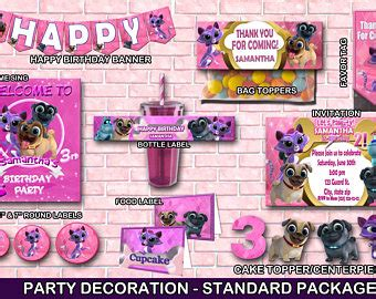 puppy pals birthday decorations puppy pal topper etsy
