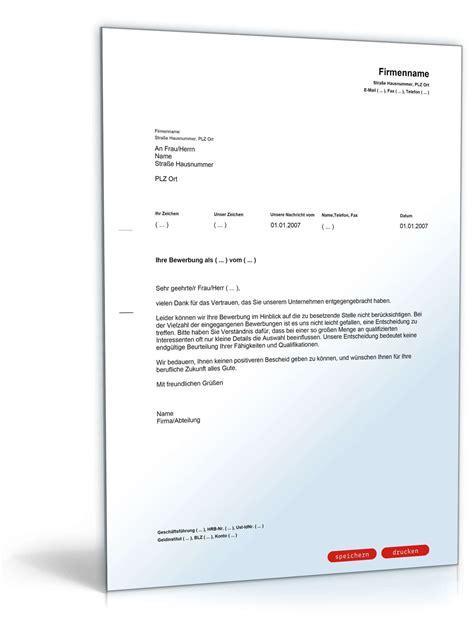 Absage Bewerbung Email Vorlage absage einer bewerbung muster vorlage zum