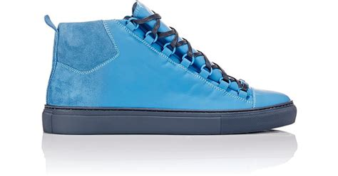 balenciaga blue sneakers balenciaga sprayed suede arena high top sneakers in blue