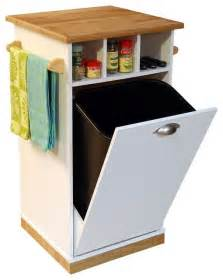 mobile trash bin w butcher block top towel contemporary kitchen islands and kitchen carts