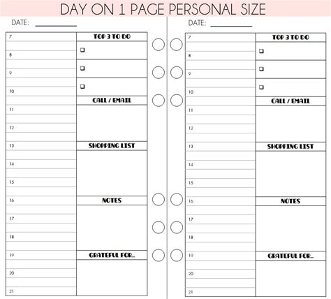 free printable planner a6 printable planner insert day on 1 page for personal a6 size
