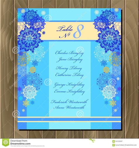 blue card template table guest list vector background with winter snowflakes