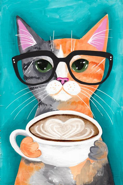 coffee sunglasses wallpaper ilustraci 243 n de ryan conners cat bits bobs pinterest