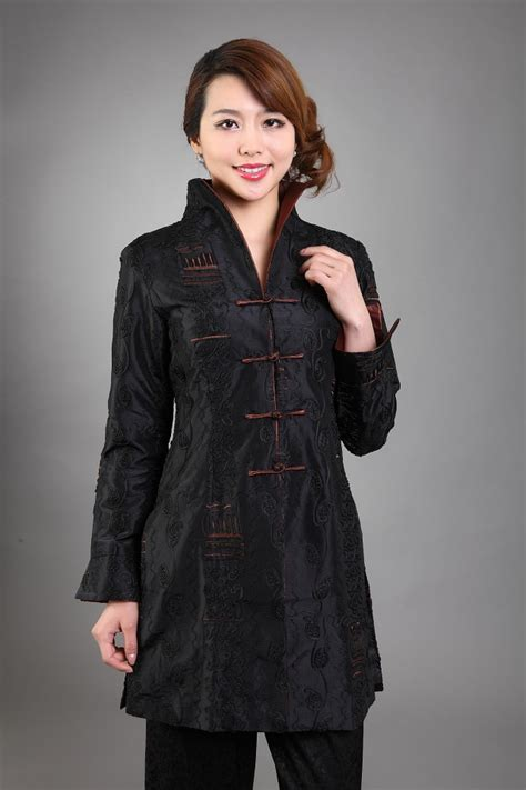 Black Back Embroidered Coat Size S M L 1 black s silk satin embroidery jacket coat flowers size s m l xl xxxl free