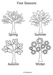 Seasons Tree Coloring Page  Style Pages sketch template