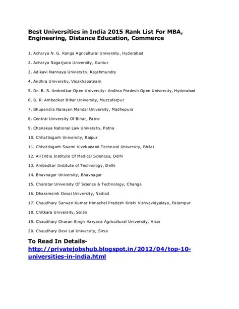 Top Mba Universities In India Distance Learning by Best Universities In India 2015 Rank List For Mba