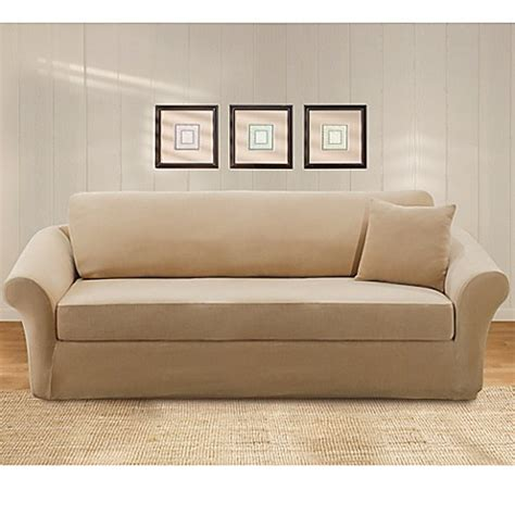 sure fit 3 piece sofa slipcover sure fit 174 stretch pique 3 piece sofa slipcover bed bath