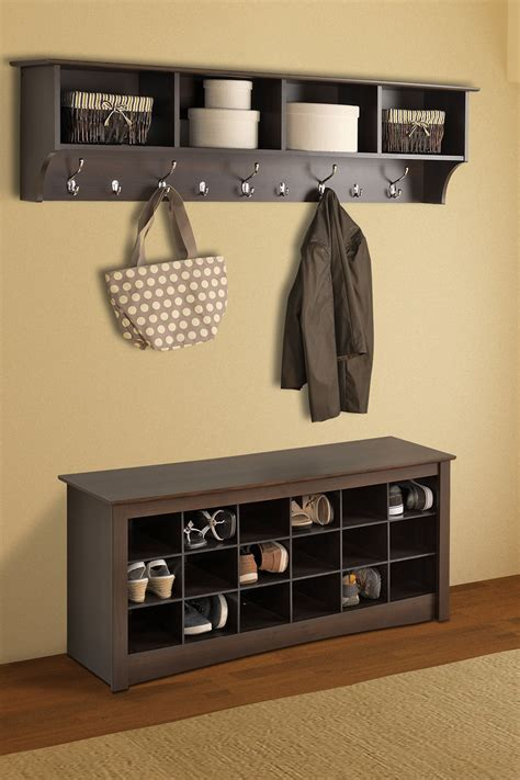 entry way shoe rack shoe storage espresso cubbie bench on hautelook