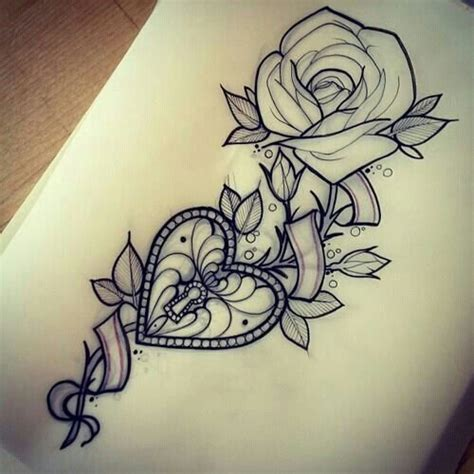 rose amp heart locket tattoo idea inkgasm amp piercings