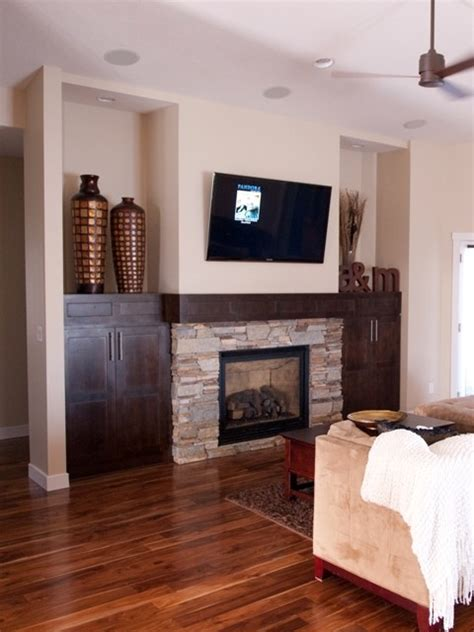 built in cabinets around fireplace family room traditional