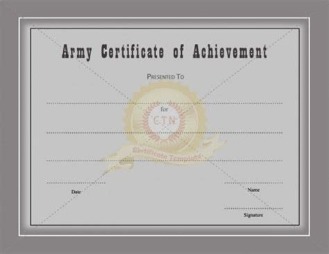 certificate of achievement template army certificate of achievement template awarded for different
