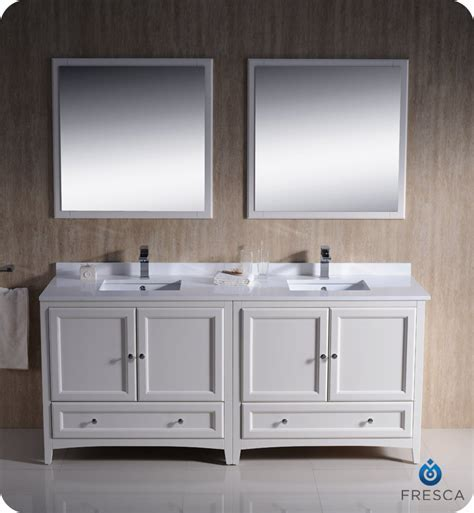 """72"""" Fresca Oxford (FVN20 3636AW) Traditional Double Sink"""