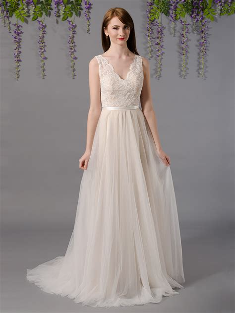 Sleeveless Lace Tulle Dress sleeveless lace wedding dress with tulle skirts 4035