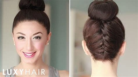 how to back your braids in doughnut bun by the sife upside down french braid bun style youtube