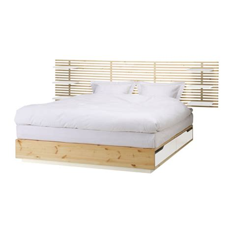 mandal bed mandal bed frame with headboard birch white 160x202 cm ikea