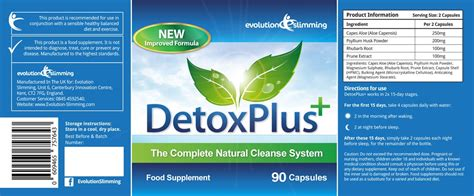 Label Detox Drink by Detox Plus Herbal Colon Cleansing System 1 Weight Loss