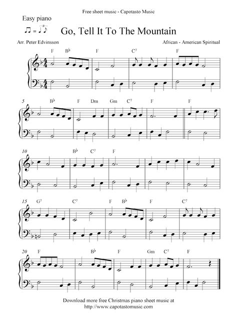 printable sheet music piano easy free christmas piano sheet music notes go tell it