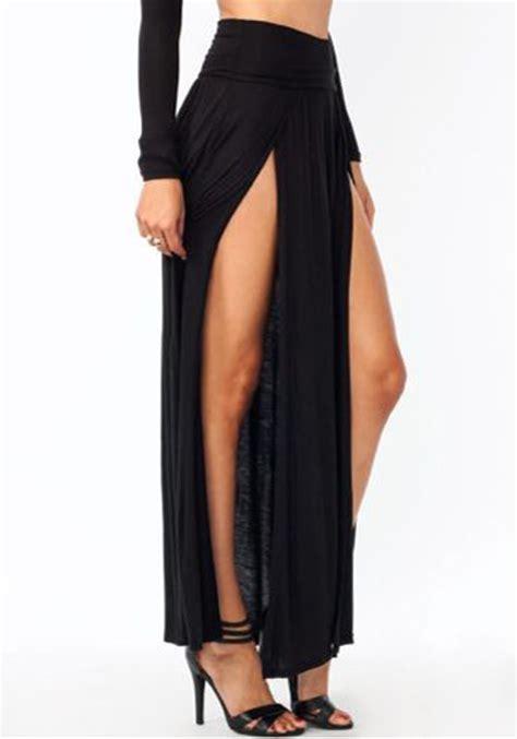 black irregular double slit floor length fashion beach