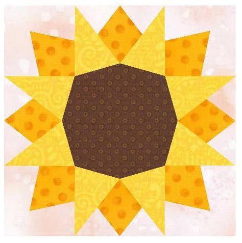 Sunflower Quilt Block Pattern by Sunflower Paper Pieced By Linleys Designs Craftsy