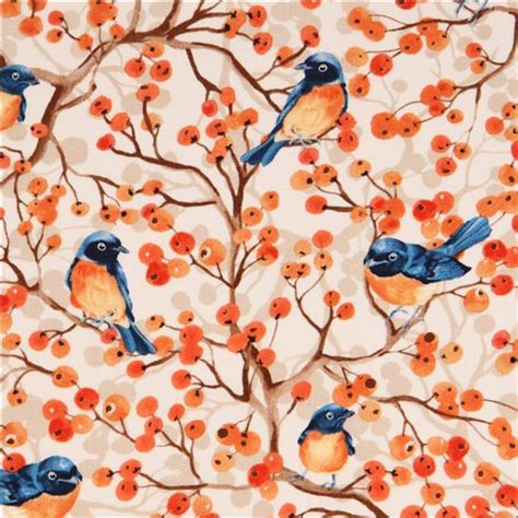 Note1 By Mikay Shop colored bird berry shrub fabric timeless treasures