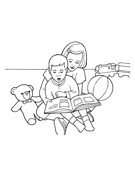 family reading coloring page children reading together