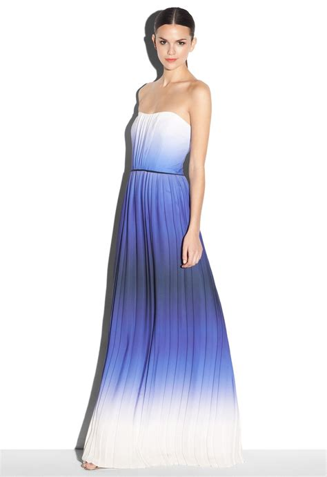 Kemben Dress milly ombre strapless maxi in indigo 525 ombre strapless maxi made of degrade georgette