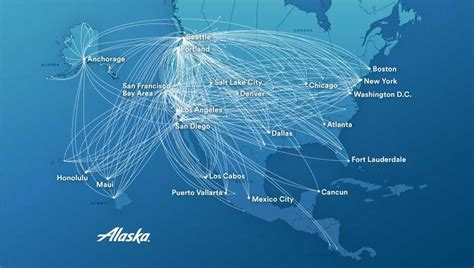 america flight map alaska airlines destinations with route map