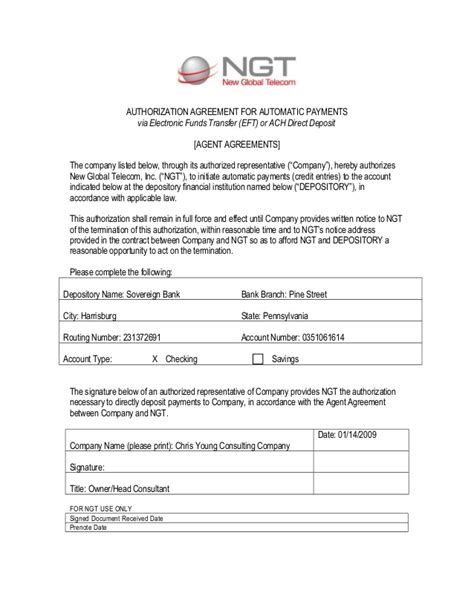 Ngt Eft Authorization Form Ach Agreement Template