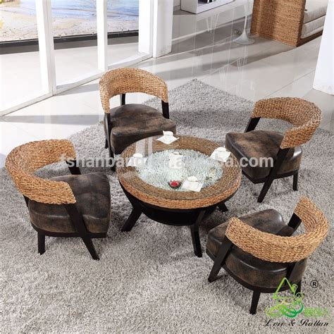coffee shop tables and chairs price 2016 new modern design rattan water hyacinth wooden coffee