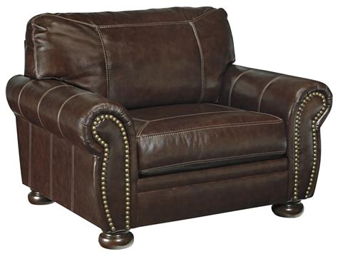 leather chair and a half with ottoman signature design by ashley banner traditional leather