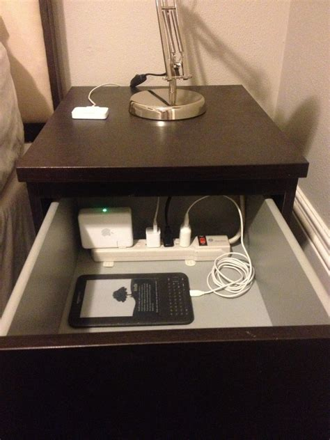 Minimalist Bedside Table nerd pro tip put a power strip in the top drawer of your