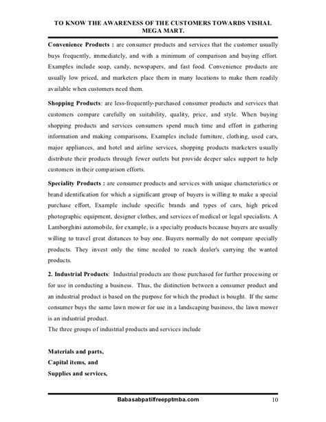 Vishal Mega Mart Project Report Mba by A Project Report On To The Awareness Of The Customers