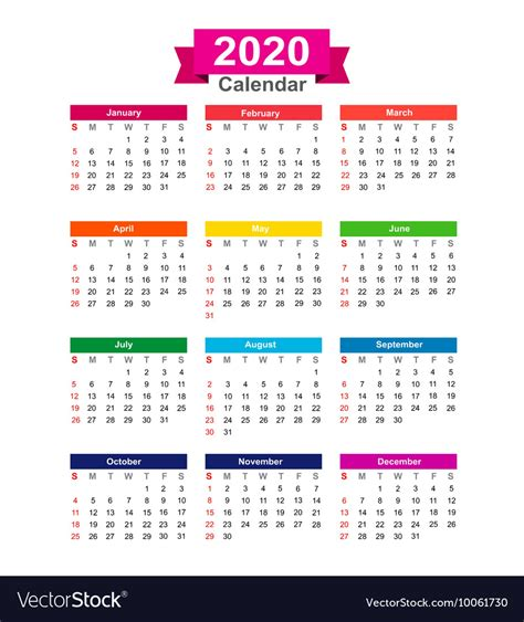year calendar isolated  white background vector image