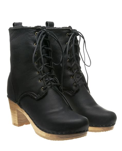no 6 clog boots no 6 lace up clog boot in black lyst