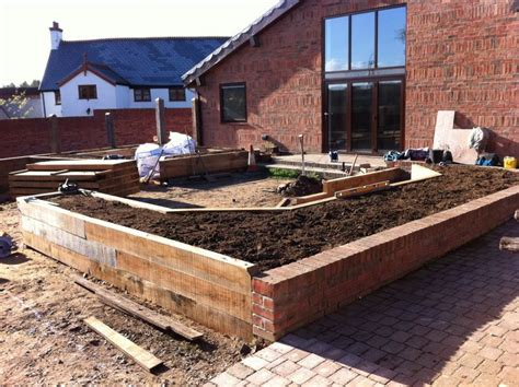 Kilgraney Railway Sleepers by Railway Sleepers Used To Create Raised Beds In A New Garden