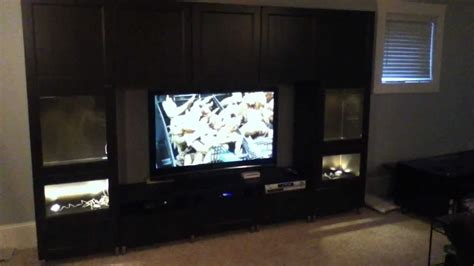 besta led t r ikea besta large entertainment center project and assembly