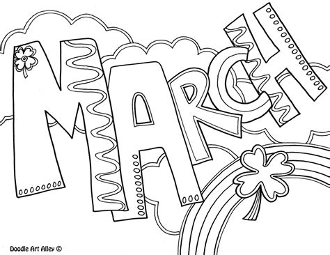 March Coloring Page months of the year coloring pages classroom doodles
