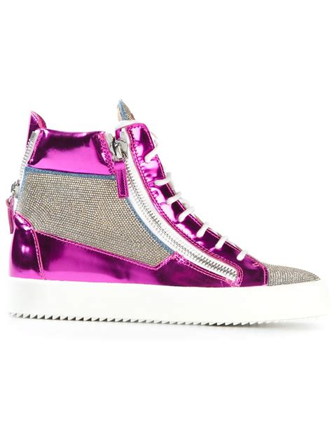 purple high top sneakers giuseppe zanotti side zip hi top sneakers in purple pink