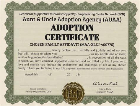 certificate of adoption template certificate adoption certificate