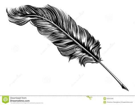 tattoo pen vector vintage feather quill pen illustration stock vector