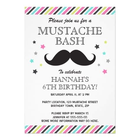 mustache birthday card template aqua pink green stripes mustache birthday card
