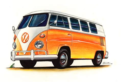 volkswagen drawing vw cervan drawing 2011 pastel marker fineliner and