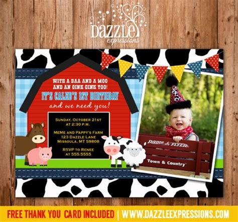printable farm animal birthday invitations printable barnyard first birthday photo invitation farm