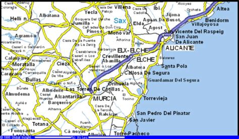 map of alicante area the rural town of almoradi