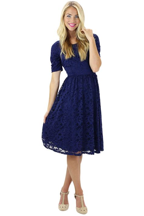 Dress Blue Navy modest dresses lace dress in navy blue