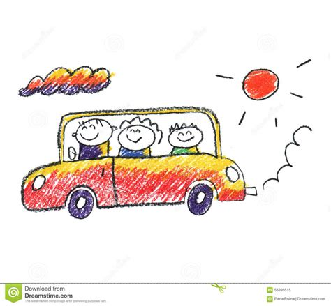 kid car drawing family traveling in car stock illustration illustration